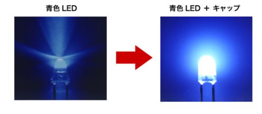 【写真3】青色LEDにキャップを被せ波長を変換する(ASA COLOR LED)